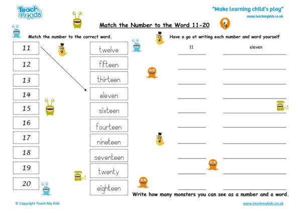 Worksheets for kids - Match the number to the word 11-20