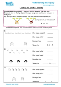 Worksheets for kids - learning-to-divide-sharing