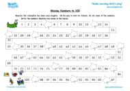 Worksheets for kids - missing numbers to 100