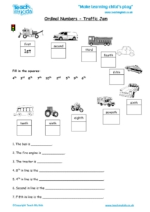 Worksheets for kids - ordinal numbers – traffic jam