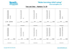 Worksheets for kids - tens-and-ones-nos-to-20