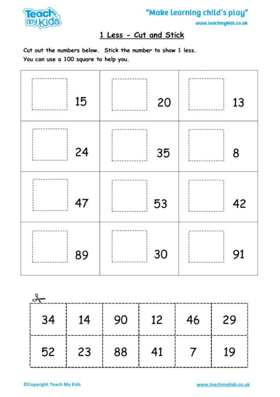 Worksheets for kids - 1-less-cut-and-stick