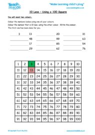 Worksheets for kids - 10-less-using-a-100-square1