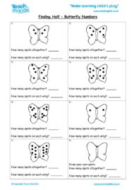Worksheets for kids - finding-half-butterfly-numbers