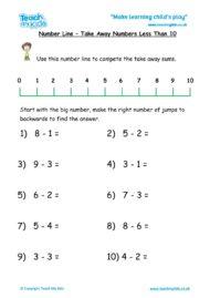 Worksheets for kids - number-line-take-away-under-10