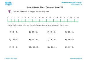 Worksheets for kids - number-line-take-away-under-20