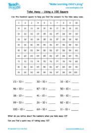 Worksheets for kids - take-away-using-a-100-square