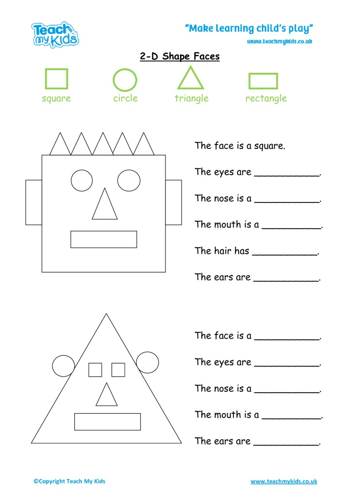 2d Shape Faces Tmk Education. 2d Shape Faces. Worksheet. 2d Shape Worksheets At Clickcart.co