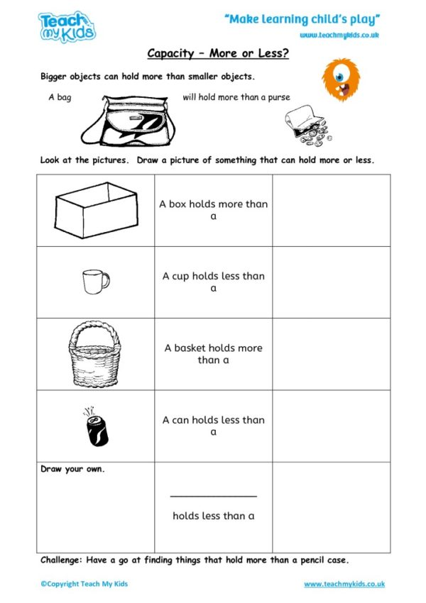 Worksheets for kids - capacity_-_more_or_less