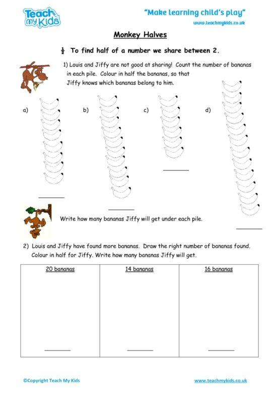 Worksheets for kids - monkey_halves
