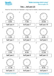 Worksheets for kids - time-half-past-2
