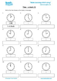 Worksheets for kids - time-oclock-1