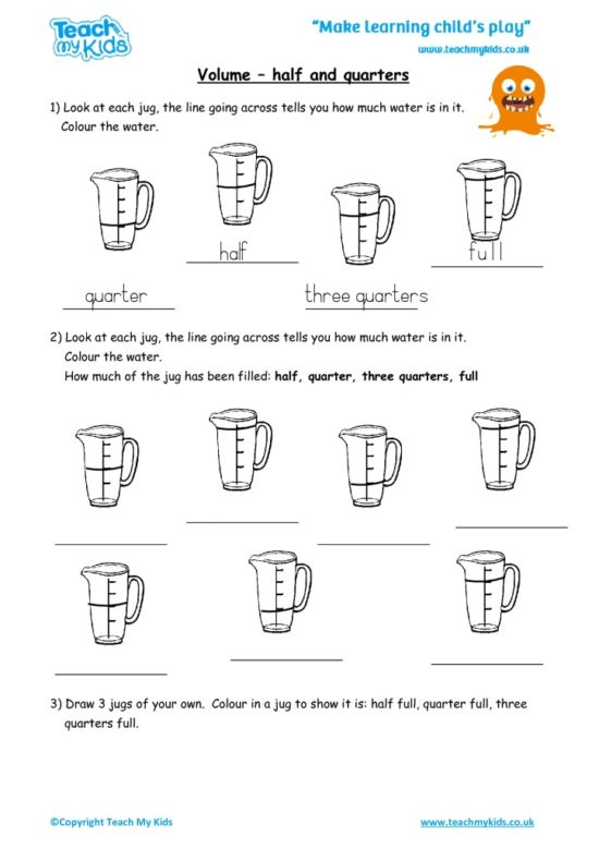 Worksheets for kids - volume_-_half_or_quarters