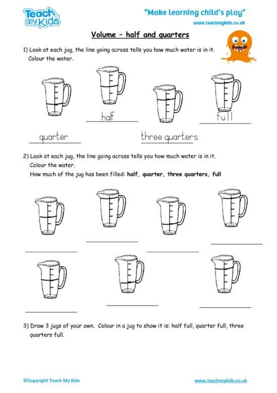 Worksheets for kids - volume_-_half_or_quarters