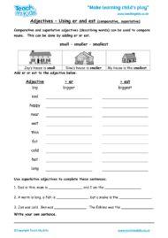 Worksheets for kids - adjectives-using-er-and-est-superlatives