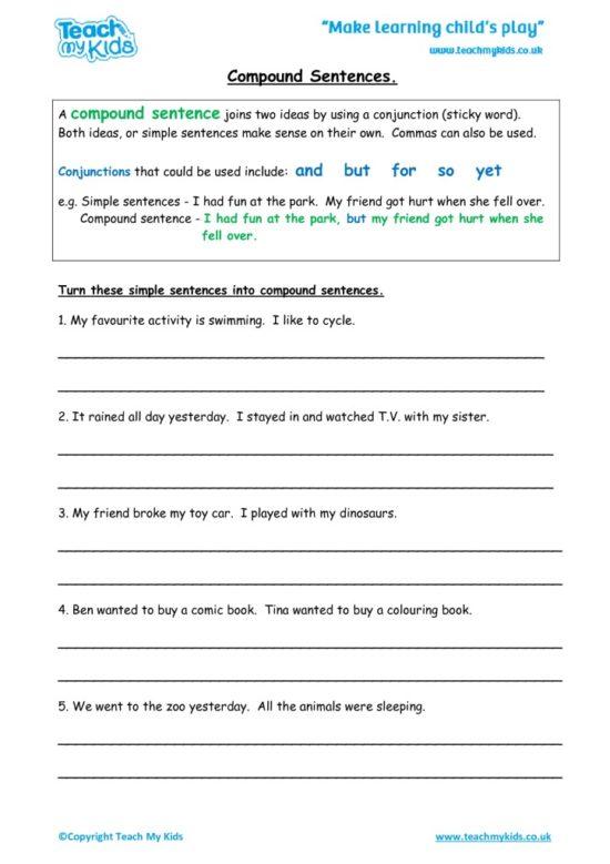 Worksheets for kids - compound-sentences