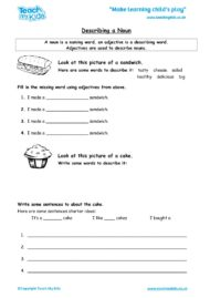 Worksheets for kids - describing_a_noun