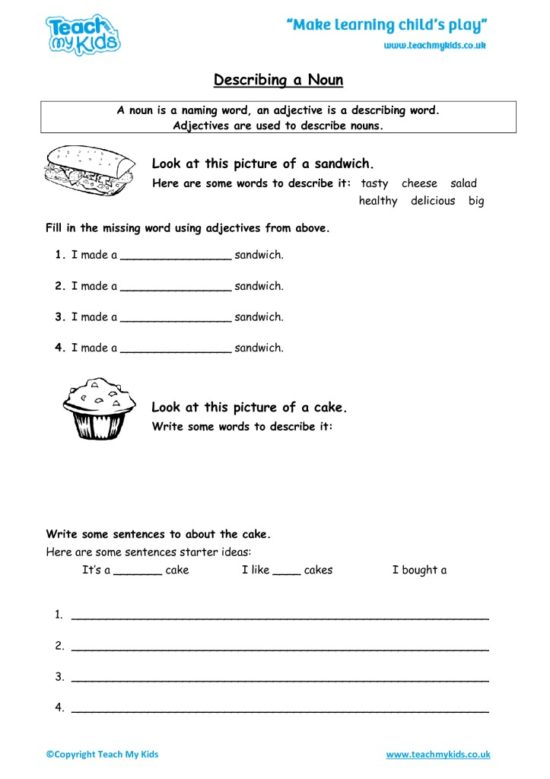 Worksheets for kids - describing_a_noun