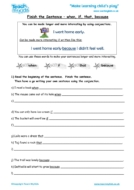 Worksheets for kids - finish_the_sentence_-_when_if_that_because