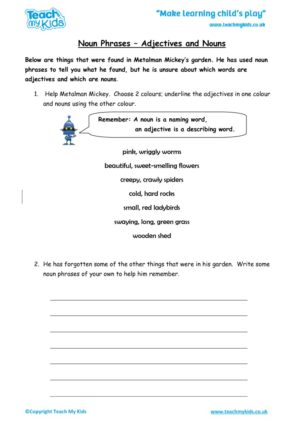Worksheets for kids - noun_phrases_-_adjectives_and_nouns