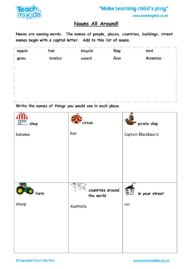 Worksheets for kids - nouns-all-around