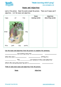 Worksheets for kids - nouns-and-adjectives