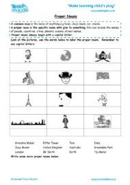 Worksheets for kids - proper-nouns