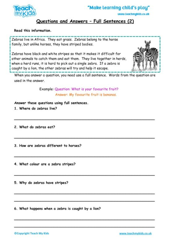Worksheets for kids - questions-and-answers-full-sentences-2