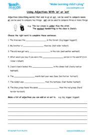 Worksheets for kids - using-adjectives-with-er-or-est