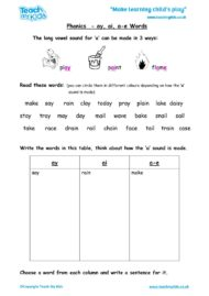 Worksheets for kids - phonics-ay-ai-a-e-words