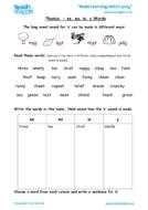 Worksheets for kids - phonics-ee-ea-ie-y-words