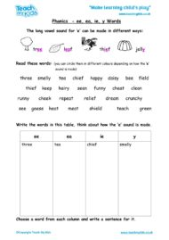 Worksheets for kids - phonics-ee-ea-ie-y-words