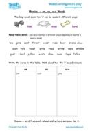 Worksheets for kids - phonics-ow-oa-o-e-words