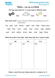 Worksheets for kids - phonics-ow-oa-o-e-words