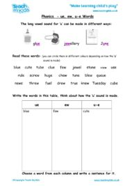 Worksheets for kids - phonics-ue-ew-u-e-words