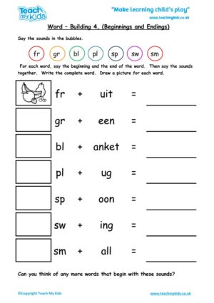 Worksheets for kids - word-building-4-beginnings-endings