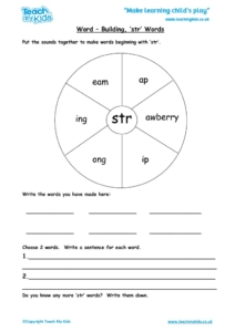 Worksheets for kids - word-building-str-words