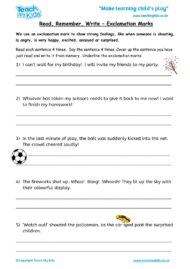 Worksheets for kids - read,_remember_write_-_exclamation_marks