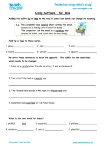 Worksheets for kids - using-suffixes-ful-less