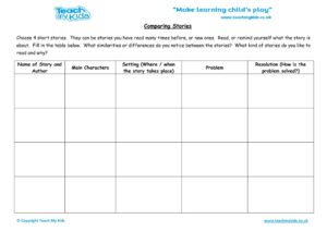 Worksheets for kids - comparing-stories