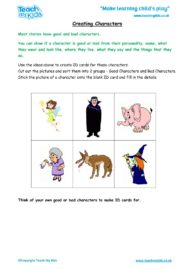 Worksheets for kids - creating-characters