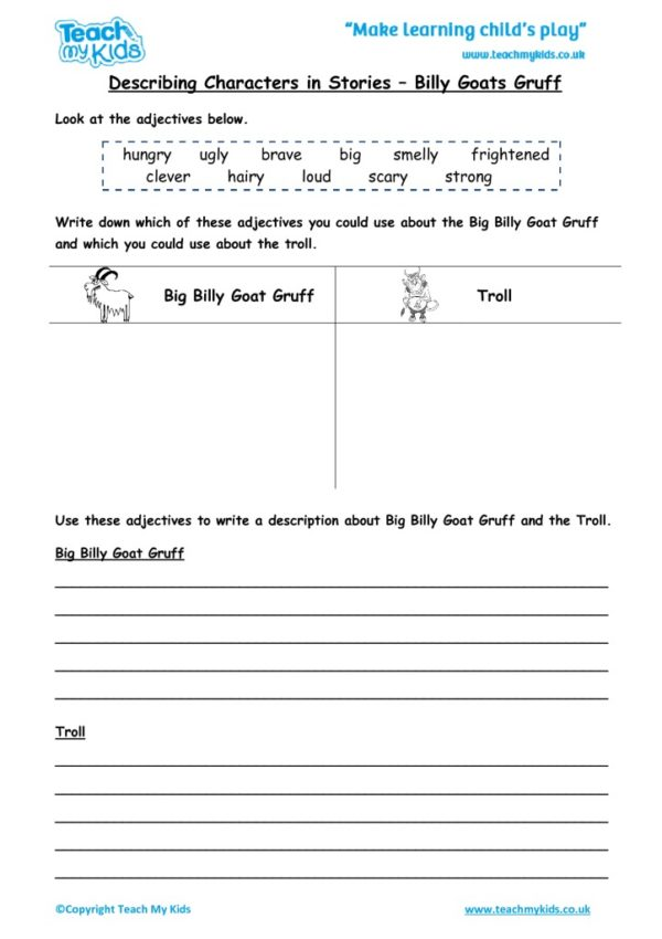 Worksheets for kids - describing-characters-in-a-story-billy-goats-gruff
