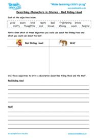 Worksheets for kids - describing-characters-in-a-story-red-riding-hood