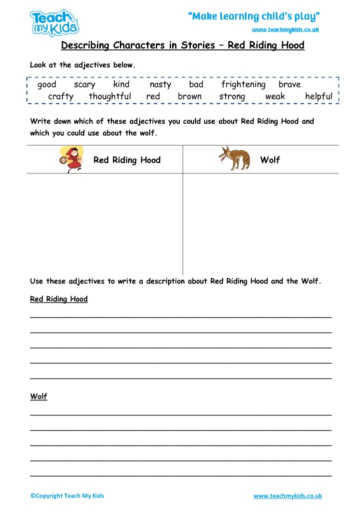 Describing Characters in a Story - Red Riding Hood