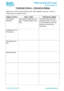 Worksheets for kids - traditional-stories-alternative-endings