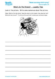Worksheets for kids - what's in the picture – laundry time