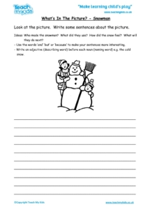 Worksheets for kids - what's in the picture – snowman