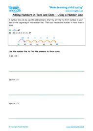 Worksheets for kids - adding-numbers-in-tensones-number-line