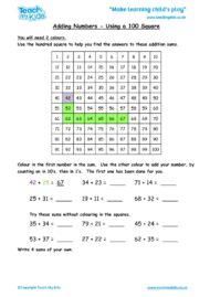 Worksheets for kids - adding-numbers-using-a-hundred-square