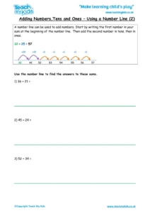 Worksheets for kids - adding-tu-number-line-2